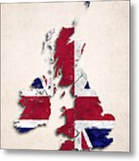 United Kingdom Map Art With Flag Design Metal Print