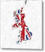 United Kingdom Painted Flag Map Metal Print