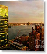 United Nations Building At Nightfall With Chrysler Building Reflection - Landmark Buildings  Metal Print
