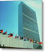 United Nations Building With Flags Metal Print