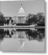 United States Capitol Building Bw Metal Print by Susan Candelario