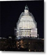 United States Capitol Dome Scaffolding At Night Metal Print