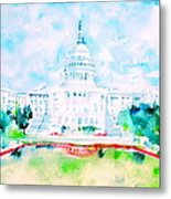 United States Capitol - Watercolor Portrait Metal Print