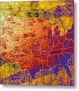 United States Flag Map Vintage 2 Metal Print