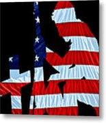 A Time To Remember United States Flag With Kneeling Soldier Silhouette Metal Print