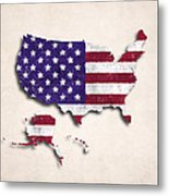 United States Map Art With Flag Design Metal Print