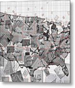 United States Map Collage 3 Metal Print
