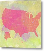 United States Map - Red And Watercolor Metal Print