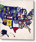 United States Map With Fifty States Metal Print