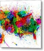 United States Paint Splashes Map Metal Print