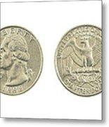 United States Quarter On White Background Metal Print