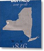 University At Buffalo New York Bulls College Town State Map Poster Series No 022 Metal Print