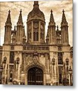 University Entrance Door Sepia Metal Print