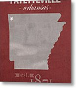 University Of Arkansas Razorbacks Fayetteville College Town State Map Poster Series No 013 Metal Print