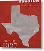 University Of Houston Cougars Texas College Town State Map Poster Series No 045 Metal Print