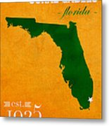 University Of Miami Hurricanes Coral Gables College Town Florida State Map Poster Series No 002 Metal Print