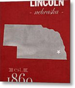 University Of Nebraska Lincoln Cornhuskers College Town State Map Poster Series No 071 Metal Print