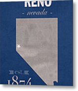 University Of Nevada Reno Wolfpack College Town State Map Poster Series No 072 Metal Print