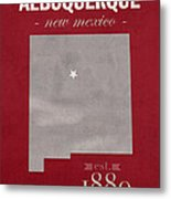 University Of New Mexico Albuquerque Lobos College Town State Map Poster Series No 074 Metal Print