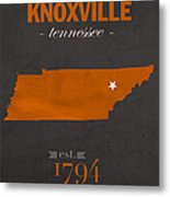 University Of Tennessee Volunteers Knoxville College Town State Map Poster Series No 104 Metal Print