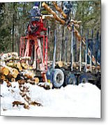 Unloading Of Logs On Transport Metal Print