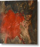 Untitled Abstract - Umber With Scarlet Metal Print
