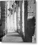 Upper Walkway With Arches Of The Old Roman Colloseum At El Jem Tunisia Metal Print