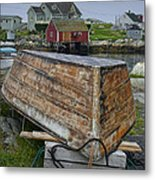 Upside Down Boat In Peggy's Cove Harbour Metal Print