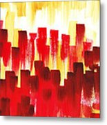 Urban Abstract Red City Lights Metal Print