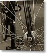 Urban Spokes In Sepia Metal Print