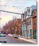 Urban Winter Landscape Colors Of Quebec Cold Day Pointe St Charles Street Scene Montreal  Metal Print