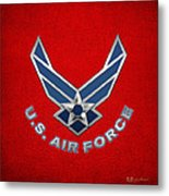 U. S. Air Force  -  U S A F Logo On Red Leather Metal Print