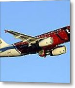 Us Airways Airbus A319-132 N837aw Arizona Cardinals Phoenix Sky Harbor December 24 2014  Metal Print