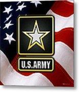U. S. Army Logo Over American Flag. Metal Print