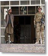 U.s. Army Soldier Stands Guard In Farah Metal Print