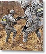 U.s. Army Soldiers Helps A Fellow Metal Print