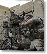 U.s. Army Soldiers Set Up A Tactical Metal Print