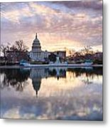 Washington Dc Us Capitol Building At Sunrise Metal Print