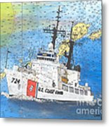 Us Coast Guard Cutter Munro Nautical Chart Cape San Blas Lighthouse Fl Nautical Chart Cathy Peek Metal Print