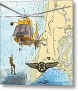 Us Coast Guard Rescue Swimmer Nautical Chart Art Cathy Peek Metal Print