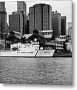 Us Coastguard Cutter Vessel Ship Berthed In Lower Manhattan On The East River New York City Metal Print