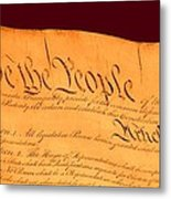 Us Constitution Closest Closeup Red Brown Background Larger Sizes Metal Print