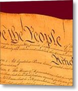 Us Constitution Closest Closeup Violet Red Background Metal Print