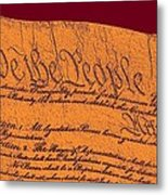 Us Constitution Closeup Sculpture Violet Red Background Metal Print