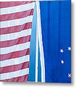 Us Flag And Conch Republic Flag Key West  - Panoramic Metal Print by Ian Monk
