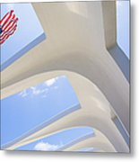 U.s.  Flag At The Uss Arizona Memorial Metal Print