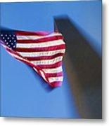 Us Flag At Washington Monument At Dusk Metal Print