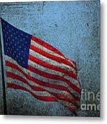 Us Flag -blue Antiqued Metal Print