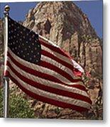 U.s. Flag In Zion National Park Metal Print