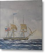 Us Frigate Gives Chase In Stormy Weather Metal Print by Elaine Jones